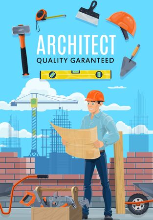 Builder architect and construction worker profession. Vector professional architecture building engineer, or house constructor man in safety helmet with project plan and masonry or brickwork tools