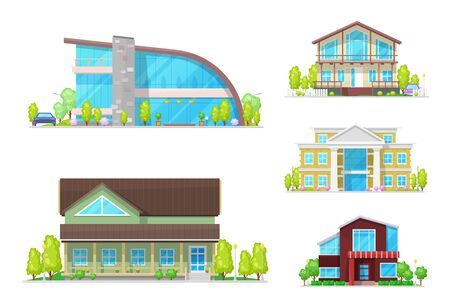 Buildings of home, house and cottage, villa and mansion vector icons of real estate, architecture, town and village property design. Residential houses with modern glass facades, windows and doors Illustration