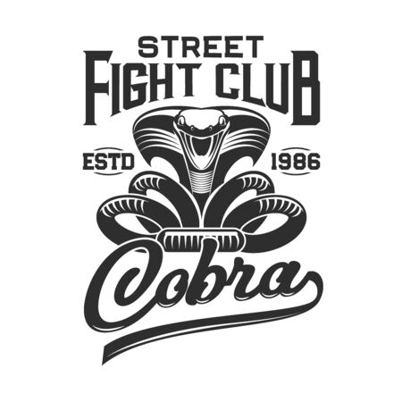 Attacking cobra vector print of fight club t-shirt. Apparel fashion design of snake in defensive posture with extended hood, open mouth and hand lettering. Sport uniform and activewear branding badge Illustration