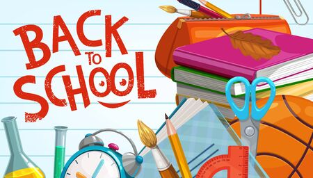 Back to school education supplies, pencils and classes books on notebook background. Vector back to school poster with basketball ball, ruler and scissors, watercolor brush and chemistry beaker tests