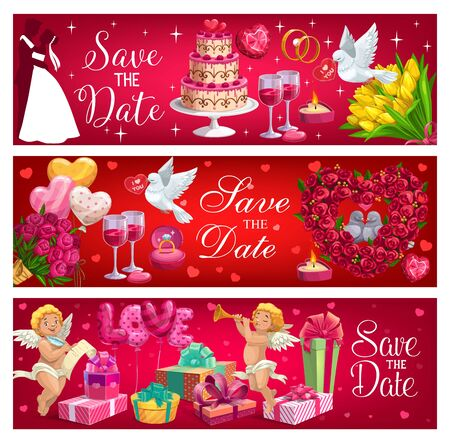 Save the date and wedding day, engagement ceremony symbols. Vector dancing bride and groom, presents gifts on marriage party, food and drinks. Wine glasses and cake, cupids and flowers, doves couples