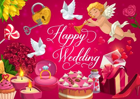 Wedding day greeting calligraphy, marriage Save the Date party cake and flowers. Vector wedding golden ring with diamond, love potion and cupid angel, dove bird and golden lock with key