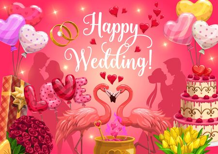 Wedding day, invitation and greeting calligraphy, golden rings and heart balloons with shine sparkles. Vector wedding ceremony party, pink flamingo, bride and bridegroom silhouette in roses flowers Иллюстрация