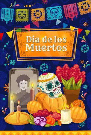 Autel mexicain du jour des morts avec crâne de sucre vectoriel. Pierre tombale de vacances Dia de los Muertos, fleurs de souci et pain sucré, bougies, drapeaux découpés en papier et guirlande de banderoles, conception de carte de voeux Vecteurs