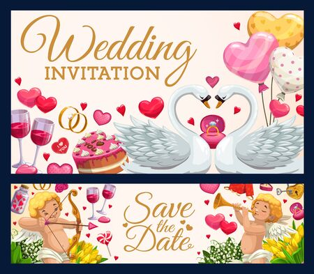 Wedding invitation calligraphy, Save the Date marriage ceremony hearts and cupid angels. Vector wedding rings, flowers and kissing swans, balloon hearts and cakes, wine glasses and lollipops