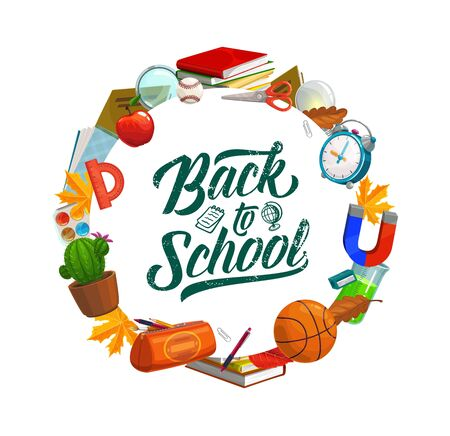 Back to school education banner, student pencil, notebook and study supplies. Vector welcome back to school lettering and classes items, clock, chemistry test and geography globe, scissors and apple
