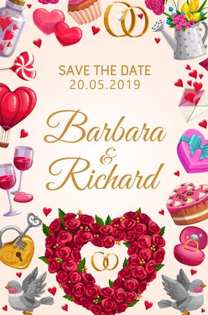 Save the Date, wedding invitation with heart or roses flowers, bride and bridegroom names calligraphy. Vector golden wedding ring with diamonds, birds and heart balloons, wine and cake