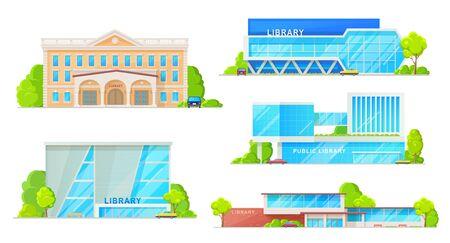 Edificios de bibliotecas públicas establecimientos aislados. Fachadas vectoriales de arquitectura de casas de biblioteca moderna y retro, museo de almacenamiento de libros. Diseño exterior con columnas, puerta de entrada y zona de aparcamiento. Ilustración de vector