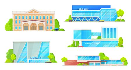 Public library buildings isolated establishments. Vector facades of modern and retro library houses architecture, museum of books storage. Exterior design with columns, entrance door and parking zone 일러스트