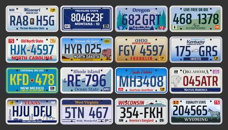 Car number plates vector design with USA vehicle license registration plates of auto, motorcycle and truck. Road transport metal signs of Texas, New Mexico, Oregon, Ohio and Dakota american states