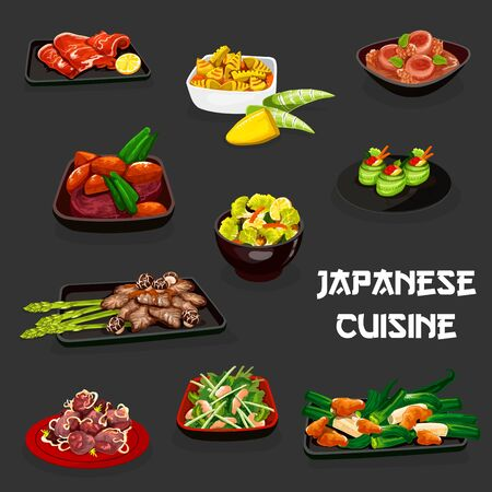 Japanese cuisine vector design of vegetable dishes with meat and seafood. Chicken and pork stews with daikon, turnip, bamboo and miso, tuna cucumber sushi rolls and kobe beef, roast beef, clam salad