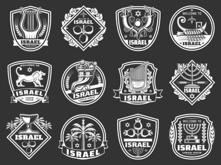 Israel shield badges with judaism religion and culture vector symbols. Star of David, jewish menorah and cornucopia, pomegranate, date palm and Jerusalem lion, israeli king harp and Zebulun boat icons