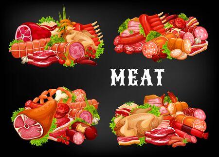 Icone di vettore di cibo a base di carne con salsicce ed erbe verdi. Bistecche di manzo e maiale, prosciutto, salame e pancetta, pollo, costolette di agnello barbecue e tortino di hamburger, peperoni, wurstel e tacchino. Negozio di carne, macelleria