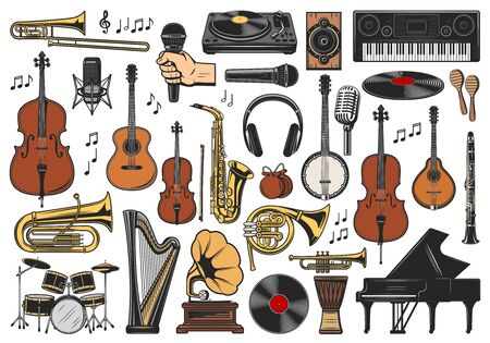 Music vector icons of musical instruments, notes and equipment sketches. Saxophone, piano and guitar, microphones, drums and trumpet, headphones, viola and maracas, vinyl record players and synthesize