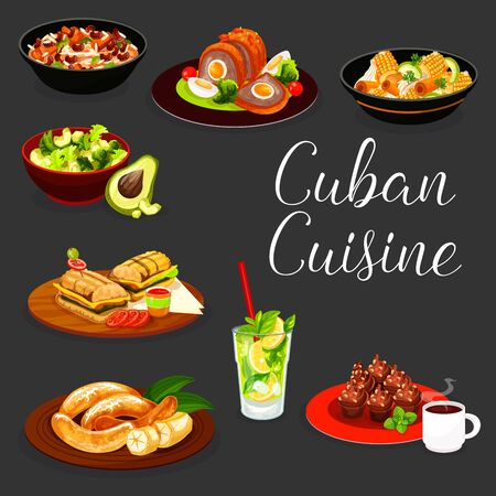 Cuban cuisine meat and vegetable dishes with drinks and desserts vector design. Pork, beef and chicken stews, rice, bean and avocado salads, ham cheese sandwich, coconut mojito, coffee cupcake, banana
