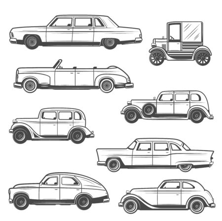 Retro car vector icons of vintage auto and old motor vehicles design. Sedan, cabriolet and hatchback, coupe and minivan monochrome models. Motor show and transportation themes  イラスト・ベクター素材