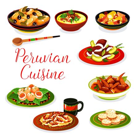 Peruvian cuisine seafood, vegetable and meat dishes vector design. Fish ceviche, chicken in nut sauce and beef stew, cookie alfajores, baked potato with olives, corn soup and shrimp croquettes