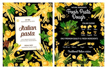 Italian pasta made from fresh macaroni dough with spices and herbs. Vector spaghetti, fettuccine and conchiglie, ravioli, linguini and tortellini, gnocchi, orzo and rotelle, basil, olives and rosemary