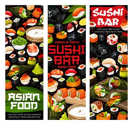 Sushi rolls, nigiri and temaki vector menu of Japanese restaurant. Salmon fish, rice and seaweed maki sushi, tuna uramaki, shrimp gunkan and seafood hosomaki with wasabi, pickled ginger and soy sauce