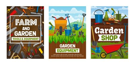 Farming and gardening tools vector posters of garden shop design. Rake, fork and shovel, watering hose and can, trowel, wheelbarrow and pitchfork, axe, saw and scissors on green grass lawns with fence