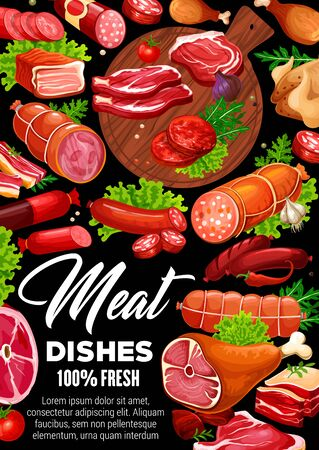 Meat food vector poster of beef steak, pork sausages and chicken, salami, ham and bacon, lamb chops, barbecue burger patty and frankfurters, green herbs and salad leaves on cutting board. Butcher shop
