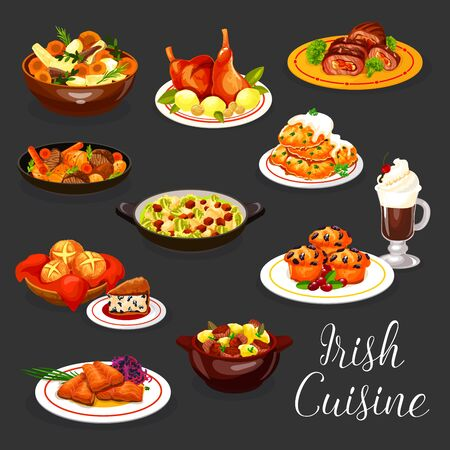 Irish cuisine vector fish and meat with coffee and dessert. Salmon with red cabbage salad, potato pancake, lamb and rabbit vegetable stews, stuffed beef, veggie casserole, berry cupcake and soda bread