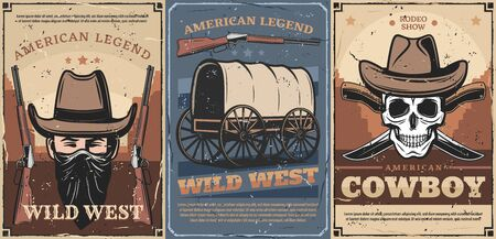 Wild West American cowboy and skull vector design with vintage hats, guns and knives, old wagon cart, sheriff rifle, bandana and desert landscape. American legend, rodeo show and USA frontier history Illustration