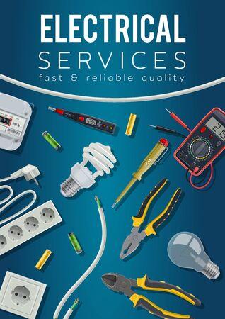 Diseño de vectores de servicio eléctrico con herramientas de electricista y póster de equipos de energía eléctrica. Cable, bombillas y probador de voltaje, voltímetro, medidor e interruptor de energía, enchufe, enchufe, baterías y cable
