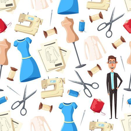 Schneider mit Nähwerkzeugen und Ausrüstung nahtlose Muster Hintergrund. Vektorschneiderin oder Modedesignerin mit Nähmaschinen, Schaufensterpuppen und Nadeln, Faden, Textilien und Scheren, Kleidern und Hemden