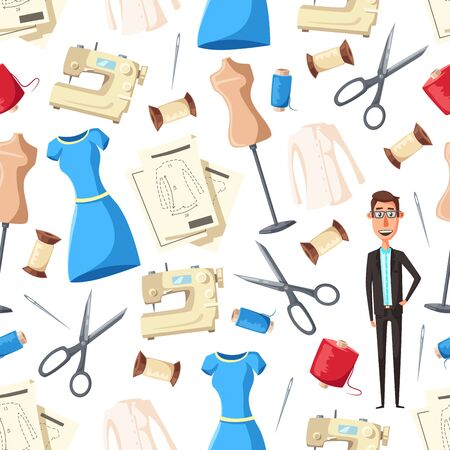 Tailor with sewing tools and equipment seamless pattern background. Vector dressmaker or fashion designer with sewing machines, mannequins and needles, thread, textile and scissors, dresses and shirts