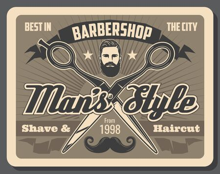 Barbershop, coupe de cheveux, barbe et affiche vectorielle de rasage de moustache. Moustache rétro, tête et ciseaux d'homme hipster, bannières de ruban vintage et étoiles. Conception de salon de coiffure et de beauté masculine