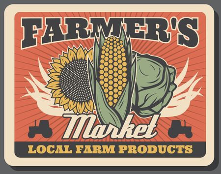 Vegetables of farmers market retro poster with vector cabbage, corn, sunflower and tractors. Fresh food products and veggies of local farms, agriculture and organic farming design