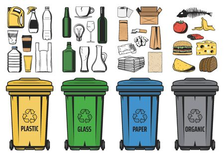 Waste sorting for recycling vector design. Sorted recycle bins with organic garbage, plastic, paper and glass trash, food, bottles, cardboard boxes and newspaper. Waste management, segregation themes