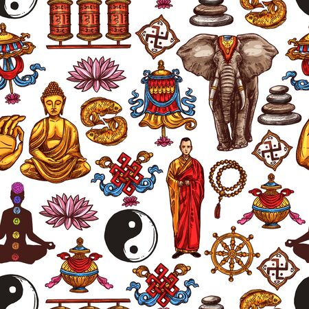 Buddhism religion vector seamless pattern background with oriental religious sacred symbols. Buddha, buddhist monk and yoga, lotus, yin yang and dharma wheel, om, prayer wheels and elephant sketches