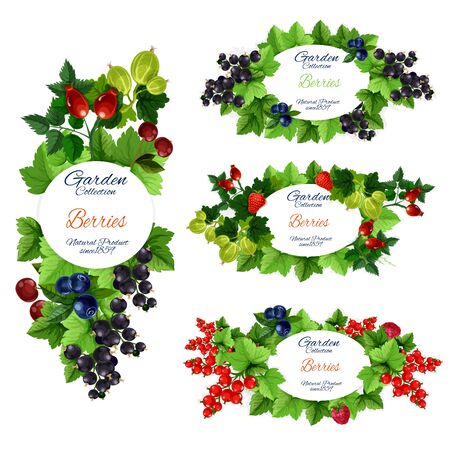 Berry and fruit icons with vector strawberry, raspberry and cherry, blueberry, black and red currant, gooseberry, briar or dogrose. Fresh farm garden and wild forest fruit branches with green leaves