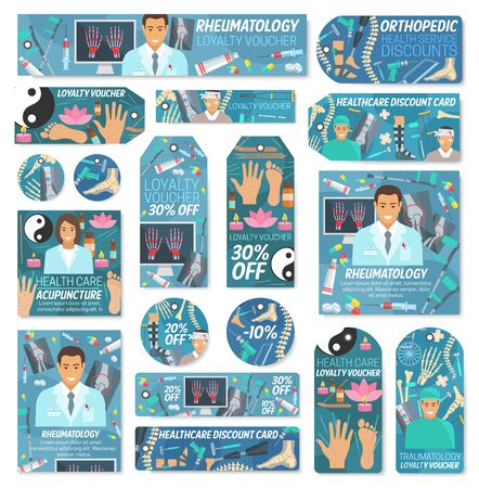 Healthcare discount tags of vector hospital and clinic doctors sale offers. Rheumatology, traumatology, orthopedic surgery and acupuncture medicine cards with medical staff and diagnostic equipments