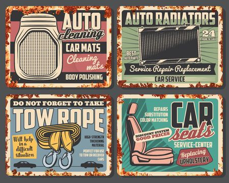 Car service and auto repair spare parts rusty metal sign boards. Vector vehicle radiator and seats replacement, cleaning mats and tow ropes, retro mechanic garage or workshop design