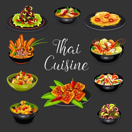 Thai suicune vector design of asian seafood and meat dishes. Hot soups of shrimp tom yum, chilli meat, chicken curry with pineapple and fried rice, chicken noodle, pork with peanut sauce, beef salad Illustration