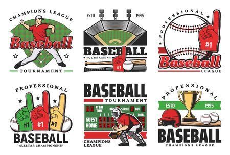 Baseball sport game vector icons with balls, bats and winner trophy cup, stadium play field, pitcher player helmet and scoreboard, catcher glove, sporting items and fun hand. Baseball club emblems