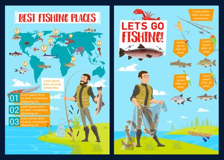 Fishing sport infographics with vector fisherman equipment and fish catch charts. Fisheries world map and graphs with fishers, net and rod, hook, bait and lure, salmon, marlin and tuna, trout and cod