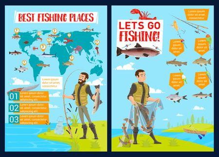 Infographie de sport de pêche avec équipement de pêcheur vectoriel et graphiques de capture de poisson. Carte du monde de la pêche et graphiques avec pêcheurs, filet et canne, hameçon, appât et leurre, saumon, marlin et thon, truite et cabillaud