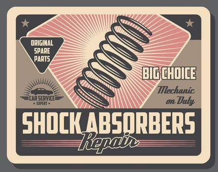 Car shock absorber retro poster of auto repair service and motor vehicle spare parts vector design. Coil spring of automobile damper, mechanical and hydraulic device, mechanic workshop, garage theme Illustration