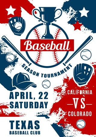 Baseball tournament, sport game match promo design with vector balls, bats and pitcher gloves, winner trophy cup and player uniform cap grunge poster, sporting competition or championship themes