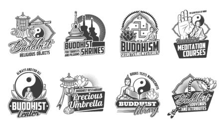 Buddhism religion vector icons of oriental religious symbols and Buddha teaching signs. Buddhist, lotus and yoga, dharma wheel, om and yin yang, tibetan monk and stupa monochrome emblems design