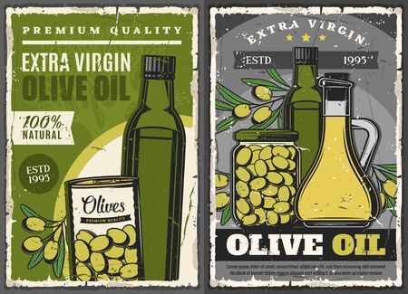 Olive oil and pickled green olive fruits vector design of natural food products. Extra virgin oil bottles and jug, can and jar retro posters with olive tree branches. Vegetable seasonings and dressing