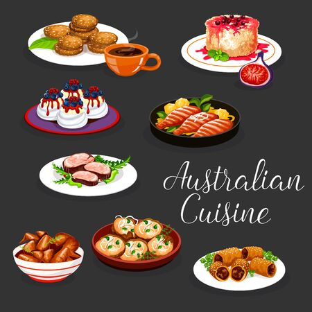 Australian cuisine vector design of beef meat steak, baked potato and lamb in pastry. Grilled chicken wings and perch fish with vegetable, oatmeal cookies, rice fruit pudding and meringue cake pavlova