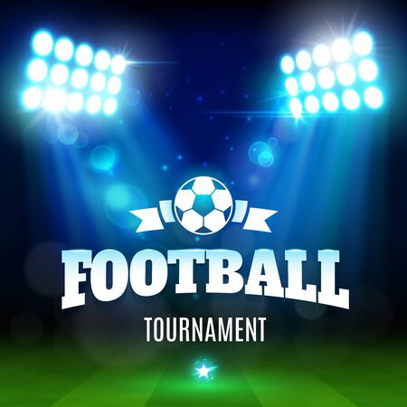 Football or soccer sport game tournament 3d vector poster. Stadium with ball, green play field and sporting arena lights, championship match promo banner, decorated with star and sparkles