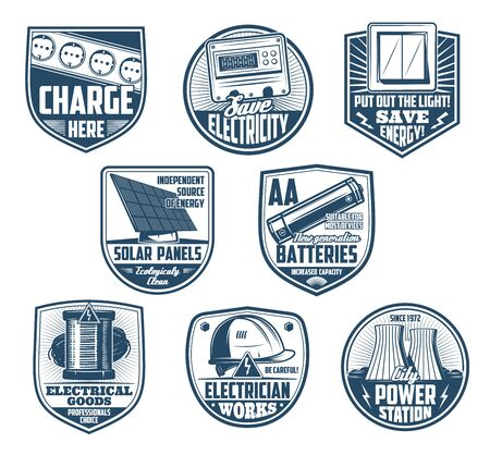 Electricity retro badges of electrical service, save energy and eco clean power vector design. Electrician equipment, electric meter and wire, battery, switch and sockets, solar panel, nuclear plant Illustration