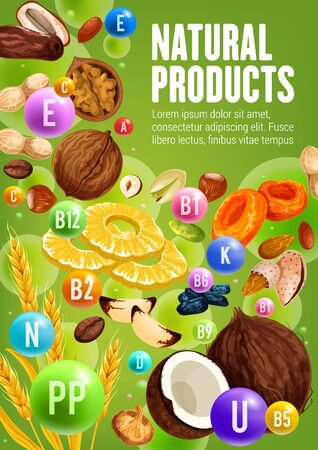 Natural vitamins of nuts, dried fruits and cereals vector design of healthy food. Peanut, walnut and almond, raisins, dried pineapple and apricot, date, fig and prune, pistachio, hazelnut, brazil nut