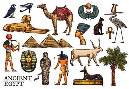 Ancient Egypt vector sketches of religion, travel symbols. God Anubis, pharaon pyramids and sphinx, ankh, mummy and Horus eye, scarab, Tutankhamun, black cat, dog and Nefertiti, heron, falcon, camel